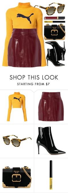 """""""Sporty Top"""" by smartbuyglasses ❤ liked on Polyvore featuring Puma, Marc Jacobs, Gianvito Rossi, Prada, NYX, Chanel, yellow and red"""
