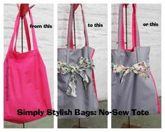 No sew tote bag- I need a cute bag to hold all of our stuff when we go out