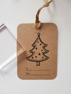 Tree Christmas Gift Tag Rubber Stamp by ArtyAlphabet on Etsy