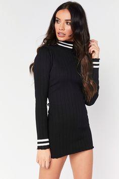 Ivy Black Ribbed High Neck Jumper Dress