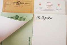 Six notepads for fictional hotels, including The Overlook Hotel (The Shining), Royal Imperial Windsor Arms Hotel (National Lampoon's European Vacation) and The Taft Hotel (The Graduate).
