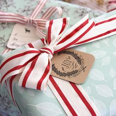 #PumpkinPatchWishlist Red and white stripes ribbon on robins egg blue paper