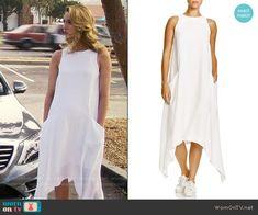 Petra's white handkerchief hem dress on Jane the Virgin.  Outfit Details: https://wornontv.net/56732/ #JanetheVirgin