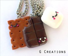 Smore Inspired Best Friends Necklace  Set by GabriellesCreations