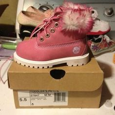 Girls Pink Timberland Boots With Fur