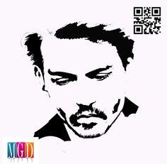 Johnny Depp vector image in Black and White   jaime's artwork
