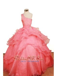 2013 Elegant Watermelon Ruffled Layers Little Girl Pageant Dresses One Shoulder Floor-Length  http://www.fashionos.com  http://www.facebook.com/quinceaneradress.fashionos.us  Layers of ruffled organza adorn to perfection the beauty of the skirt spreading admiration to the audience. Wear a tiara to look great. The puffy skirt and zipper up back create a beautiful shape to complete the dress.