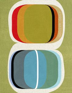 Colour set - modern abstract, mid century design, mixed media fine art pigment print, on quality heavy weight edition paper, by Olive Dear Mid Century Art, Mid Century Modern Design, Retro Design, Design Art, Design Patterns, Geometric Patterns, Print Patterns, Graphic Design, Geometric Painting