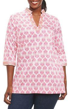 4473cbe9946 Foxcroft Angelica Embroidered Block Print Tunic (Plus Size)