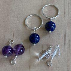 Silver Sleepers & Amethyst, Lapis Lazuli, Rock Crystal Earrings