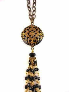 Antique Brass and Resin Scrolled Dome Necklace, Black Jan Michaels. $69.00. Handcrafted