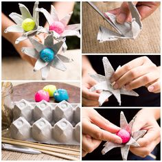 Egg Carton Flowers/ Moonfrye DIY/ Repurposed/ Recycled Crafts/ Playdoh Crafts