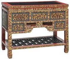 Mesa chinesa, de formato retangular decorada em laca &#..
