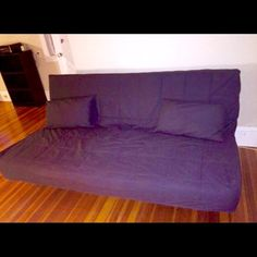 Ikea Navy Blue Sofabed Like new. It was located in a single woman place. Barely used. No smoking place. When it open become a Queen bed. Selling due to military relocation. Ikea Other