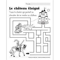 Fichier PDF téléchargeable En noir et blanc seulement 1 page  Voici un petit jeu pour le thème du Moyen Âge. L'enfant doit trouver quel chemin mènera le chevalier au château.