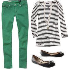Colored denim & stripes.