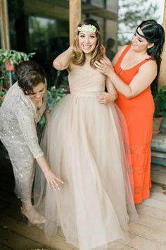 Beige Tulle Wedding Gown custom dress by MelissaLynnHaner on Etsy