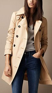 Mid-Length Cotton Poplin Double Throat Latch Trench Coat- Burberry