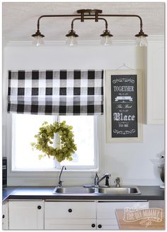 Kitchen Lighting Ideas A budget friendly, black and white country cottage farmhouse kitchen - Smart, stylish, and space-saving ideas for decorating the heart of the home. Farmhouse Kitchen Lighting, Kitchen Lighting Fixtures, Kitchen Ceiling Lights, Lights For Kitchen, Kitchen Track Lighting, Black Track Lighting, Kitchen Ceilings, Farmhouse Light Fixtures, Kitchen Redo