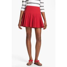 Red Valentino Pleated Stretch Gabardine Skirt ($295) ❤ liked on Polyvore