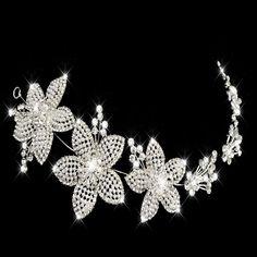 Tiara Xl Diadem Krone Strass Kristall Brautschmuck Hochzeit Silber Elegant Neu Moderne Techniken Tiaras & Haarreifen