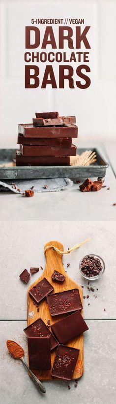 My FAVORITE DIY Vegan Dark Chocolate! 5 ingredients, naturally sweetened, SO creamy and rich! #vegan #plantbased #dessert #healthy #recipe #glutenfree #chocolate #minimalistbaker