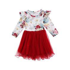 Christmas Newborn Kid Infant Baby Clothing Girls Long Sleeve Flower Tops Tulle Tutu Button Skirts 2pcs Set Autumn Clothes 1-6T #Affiliate #tulleskirtkids