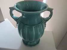 """ANTIQUE NELSON MCCOY POTTERY URN SHAPED HANDLED VASE 9 1/2"""" Tall Green"""