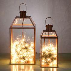 Copper Mansard Lantern - I like the mini lights illuminating the lantern!