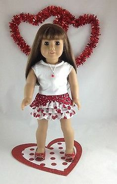 18T Holiday Wear -4 PC Valentine- Skirt/Top/Shoes/Necklace for Isabelle, Lanie