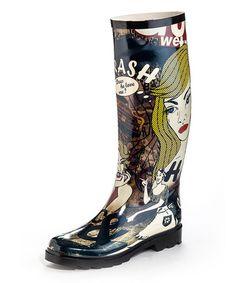Another great find on #zulily! Black Pop Art My Girl Rain Boot by Henry Ferrera #zulilyfinds