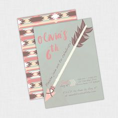 Bohemian Party Invitation, Tribal Invite, Aztec style by Frosted Fete Events on Etsy.