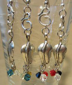 Silver Swirl & Leaf Dangle Earrings w/ Crystals by Pizzelwaddels, $17.97