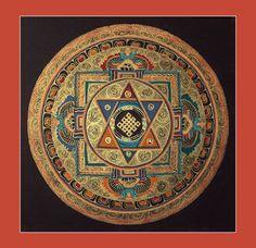 21 x 21 cm Sri Yantra Mandala Tibetan Painted Scroll