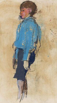 JOAN EARDLEY R.S.A. (SCOTTISH 1921-1963) BOY IN A BLUE SHIRT 54.5CM X 30.5CM (21.5IN X 12IN) - SALE 438