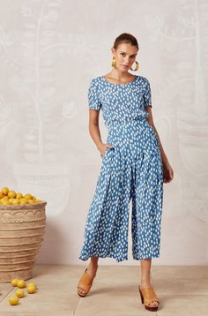 One size, elastic waist, pull on Palazzo style pant. Panel detail at waistband with pleats, falling into a wide cropped leg Styled with Lola Tee and Tan Mules Palazzo Style, Palazzo Pants, Evie, Elastic Waist, Cyprus, Product Launch, Jumpsuit, Legs, Casual