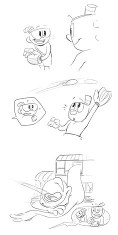 catch ball! - (Request : Cuphead and Mugman playing catch ball. Mug misses the ball and has to take it back but It got into...