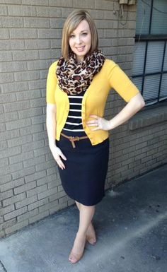 Stripes, Leopard, and Mustard. Modern Modesty.
