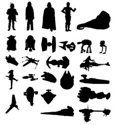 Boba Fett, Chewbacca, Darth Vader, C3-P0, Jabba the Hut, Yoda, R2-D2, TIE-Fighter, TIE-Interceptor, AT-AT, AT-ST, A-Wing, X-Wing, TIE-Bomber...