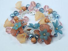 Flower Charm Bracelet.  Orange and blue
