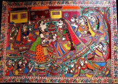 Prime Minister Narendra Modi has presented a Madhubani painting to the Hannover mayor Steven Schostok. Madhubani painting is done in the eastern state Madhubani Art, Madhubani Painting, Kalamkari Painting, Arte Tribal, Tribal Art, Krishna Hindu, Shiva, Indian Folk Art, Types Of Painting