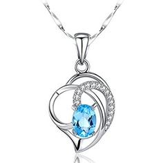 eHarbour Luxury 925 Sterling Silver Romantic Heart Shape Clavicle Pendant Necklace with Zircons-inserted and a Blue TopazStone
