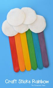 This craft sticks rainbow is a fun craft for kids to make for St. Patrick's Day, spring, summer or letter R.