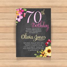 Seventy birthday party Watercolor Floral Chalkboard by CoolStudio