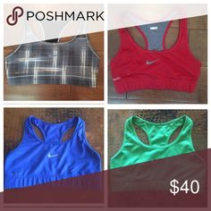 Nike sports bra bundle!! Four awesome sports bras, all size small. Each ones Nike symbol is slightly faded. Otherwise no stains and hardly ever worn! Each one has an individual listing for more pictures Nike Intimates & Sleepwear Bras