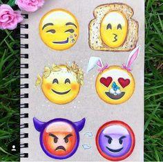 Emojis speak louder than words. Emoji Drawings, Tumblr Drawings, Cool Art Drawings, Disney Drawings, Easy Drawings, Art Sketches, Social Media Art, Emoji Love, Smileys