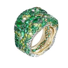 Faberge 18-carat yellow gold ring with white diamonds, emeralds, demantoid and peridot