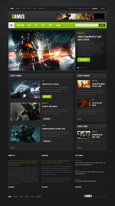 Games Portal Website Templates by Mercury | Gaming Website ...