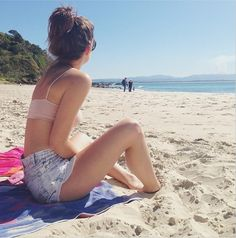 Open RP with Callie) I was sitting on the beach by myself. I was looking out at the water. I heard you come up, but I didn't turn until you say. Beach Babe, Summer Beach, Maia Mitchell Bikini, Nicole Parker, High School Story, Danielle Campbell, Beautiful Yoga, Picture Poses, Mode Style