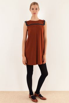 Rust jersey dress with contrast beading - Women s Clothing Online Made in  Italy Abiti Autunnali 5dcbcffa729
